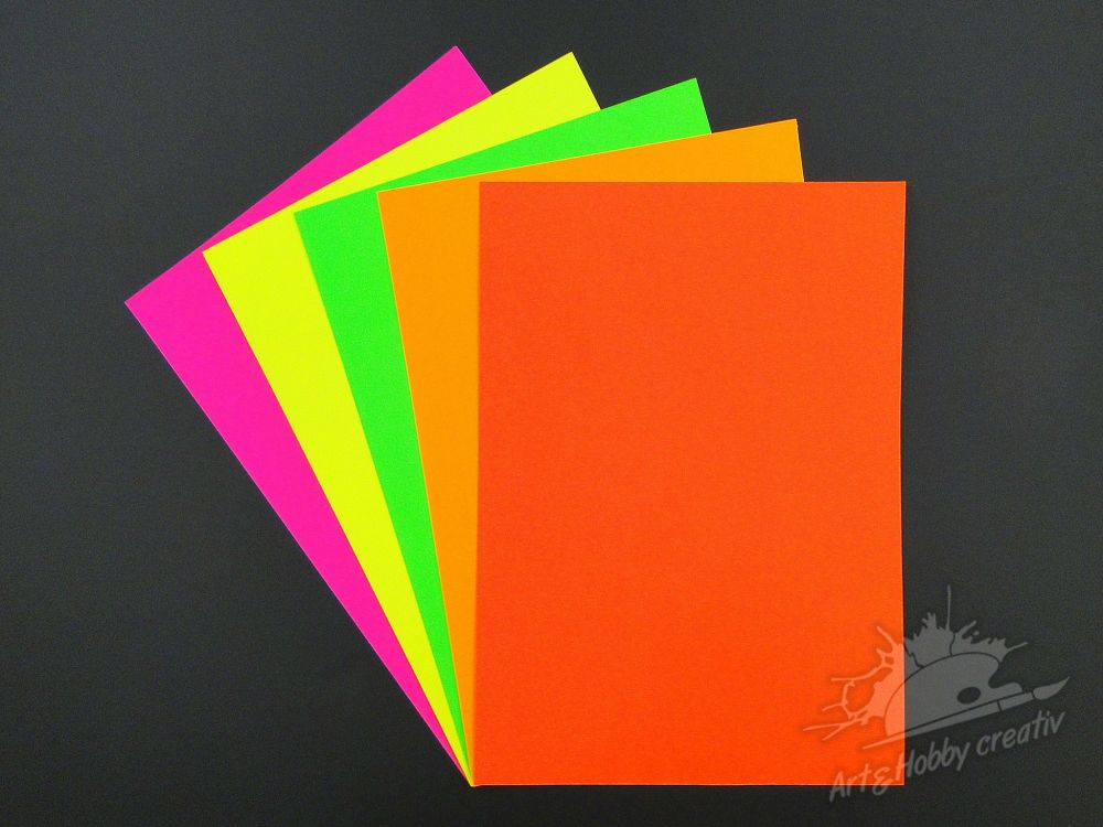 Carton color fluorescent A4 - 180gr