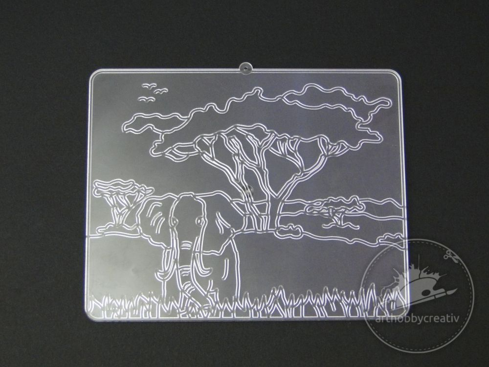 Vitraliu decor din plastic - safari 12x15 cm
