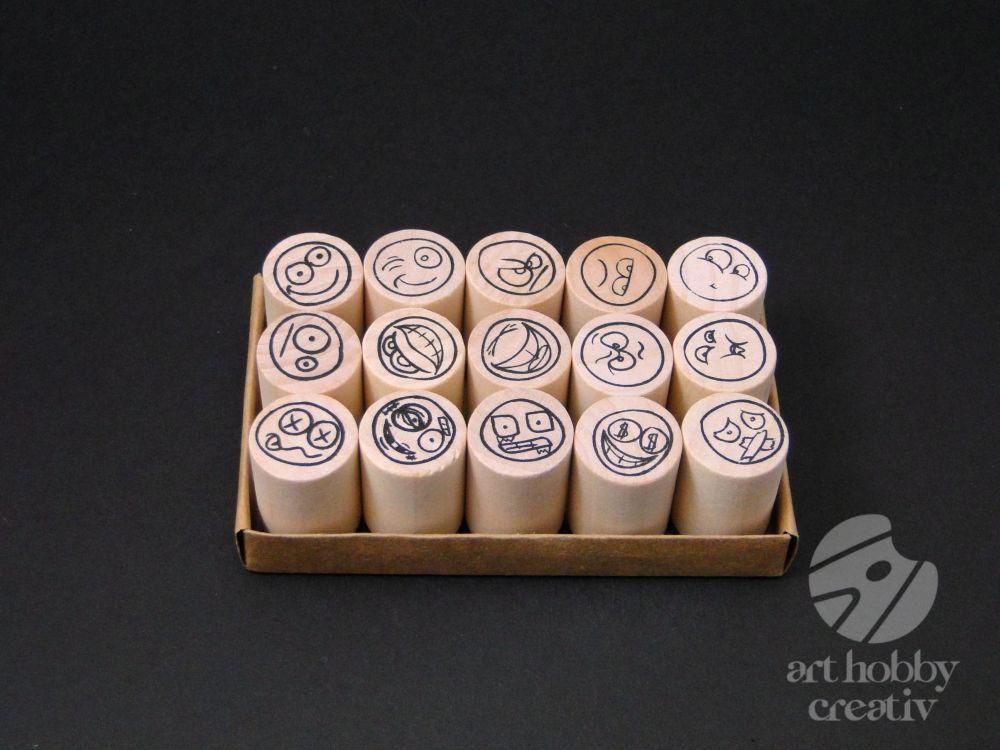 Stampile Lemn Cu Fete Zambitoare Si Triste Set15buc