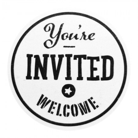 Stampila cu maner lemn - Your're invited. Welcome