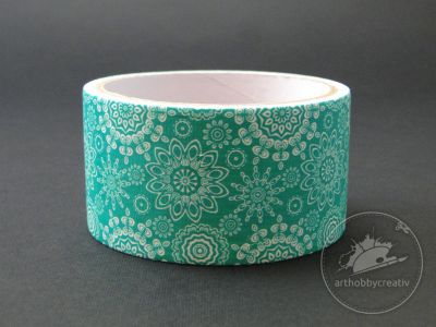 Banda adeziva decor 48mm/5m - verde cu motive florale