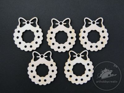 Figurine lemn - coronite de craciun set/5buc