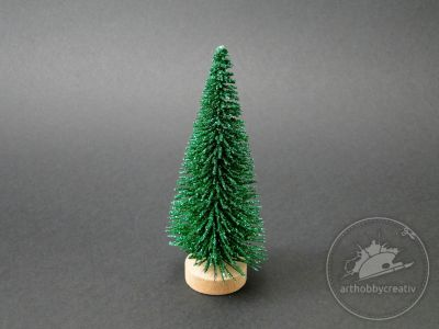 Bradulet mini decor verde gliterat 11 cm
