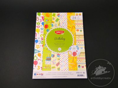 Bloc hartie decorativa - Birthday set/24coli