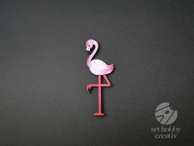 Figurina lemn - flamingo 9,5 cm set/2buc