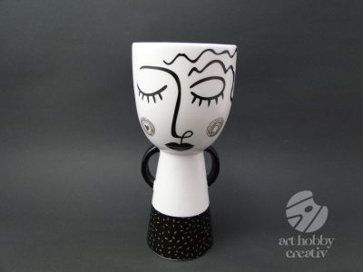 Vaza ceramica decorativa - portret abstract 20cm